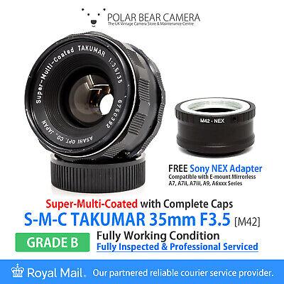 ⭐SERVICED⭐ TAKUMAR 35mm F3.5 SMC Full Frame + Sony E-mount NEX Adapter [GRADE B]