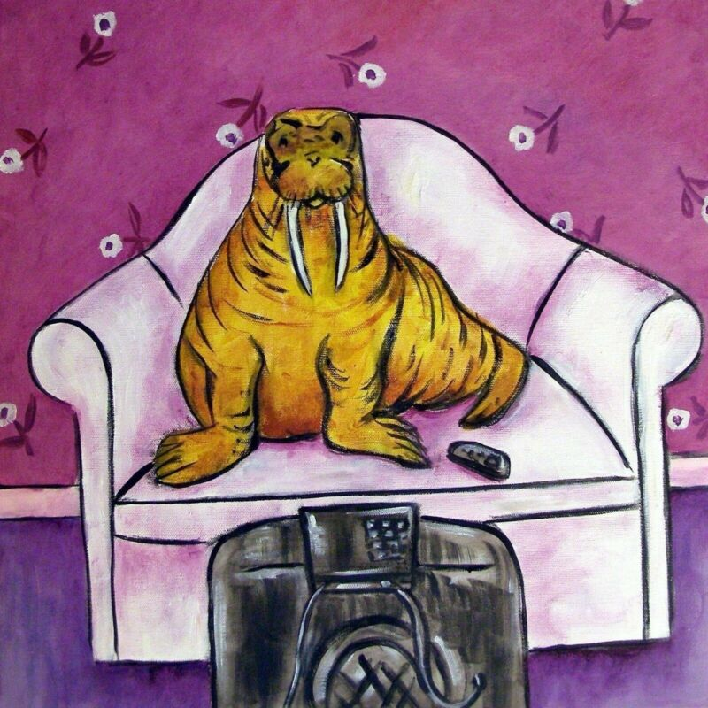 WALRUS WATCHING TV gift art tile coaster gift animal