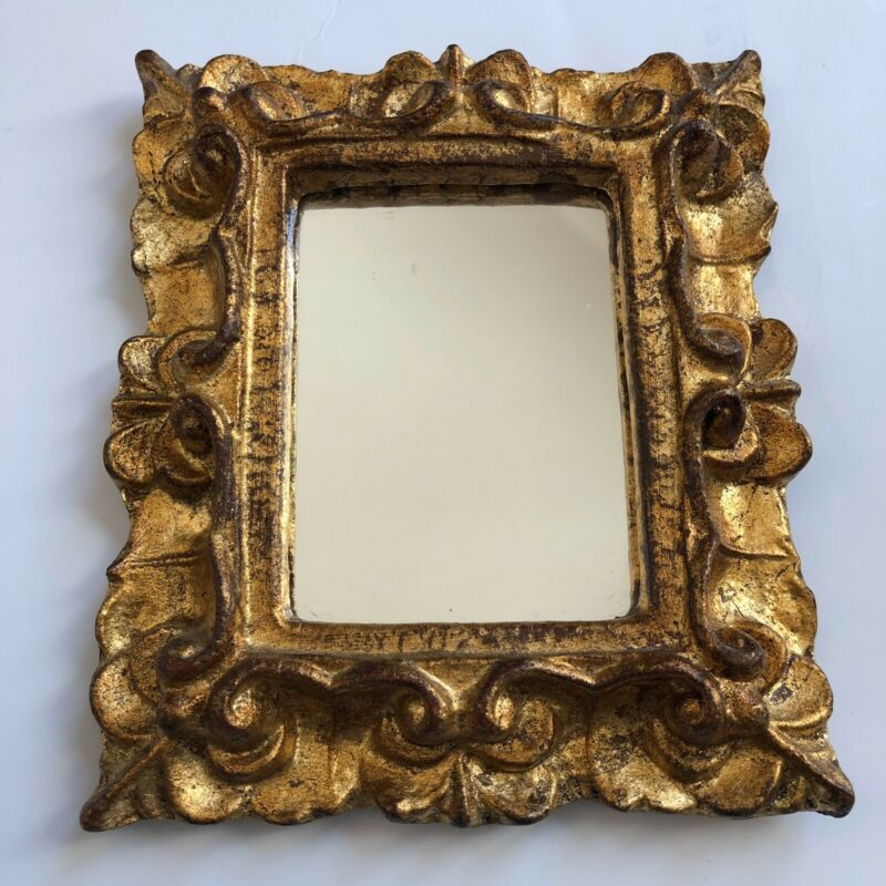 Vtg Gold Italian Wall Mirror Decorative Ornate Florentine Italy Rectangular