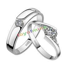Sterling Silver Plated Forever Love Cuore Regolabile Coppia Anelli Uk Venditore -  - ebay.it