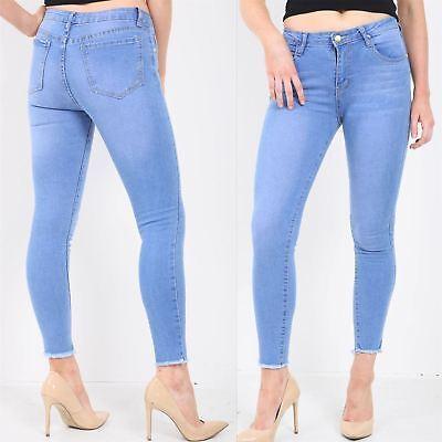 Ex Mango Chainstore Ripped Knee Jeans Jeggings Ladies Skinny High Waist Black