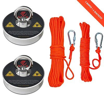 Maxmagnets Fishing Magnet Kit 2 Ropes With Twist Locking Carabiner 300 Lbs Pull