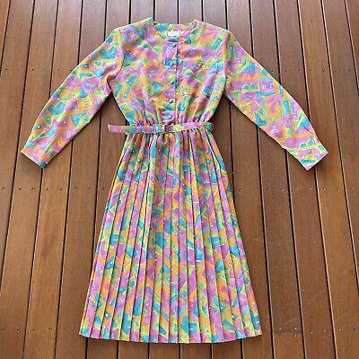 80s Dresses | Casual to Party Dresses Vintage Size 10 Tea Dress W Belt Long Sleeve Bright Print Australia Cocktail $52.42 AT vintagedancer.com