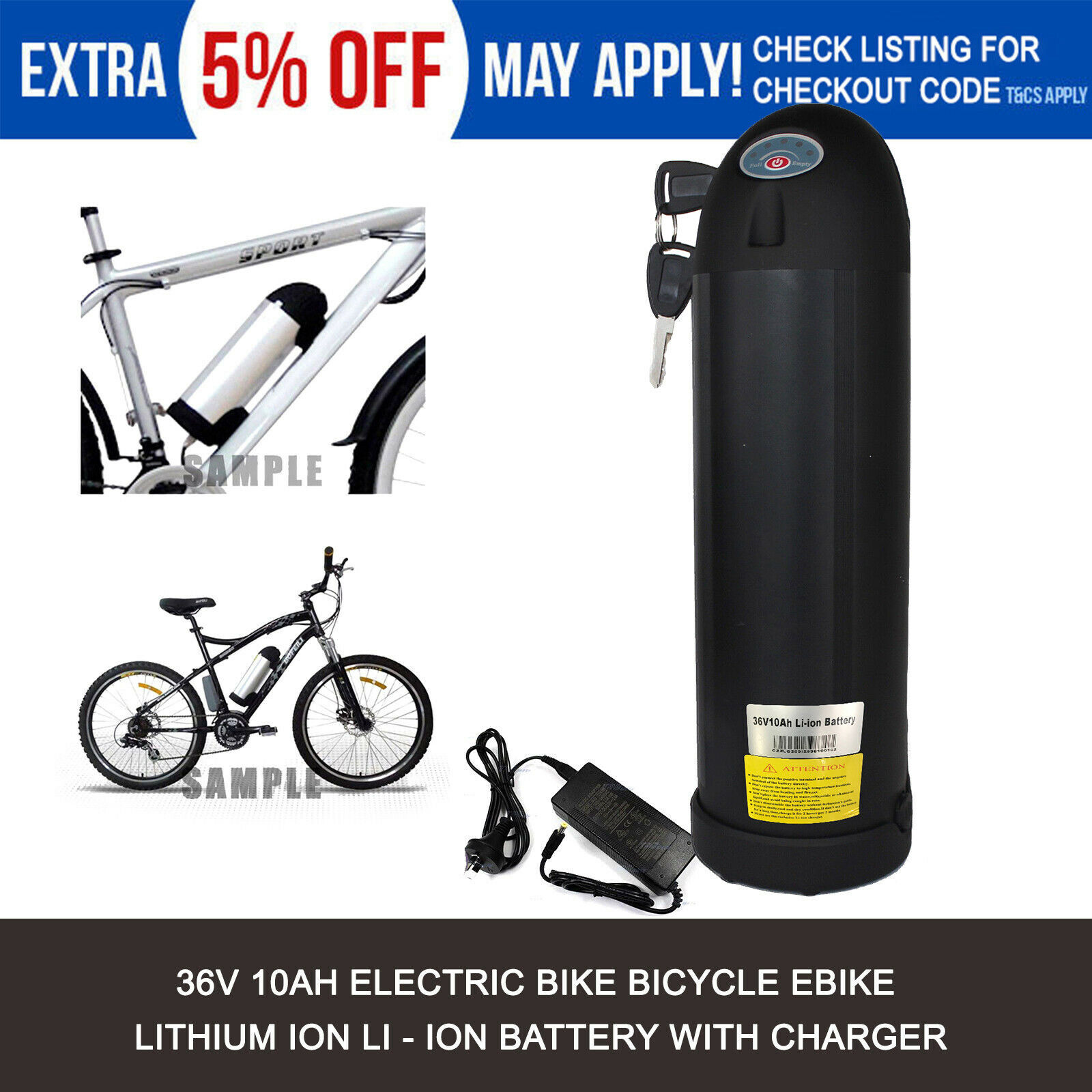 36V 10Ah Bottle Lithium Battery Pack 250-350W Electric Bicycle E-Bike Conversion