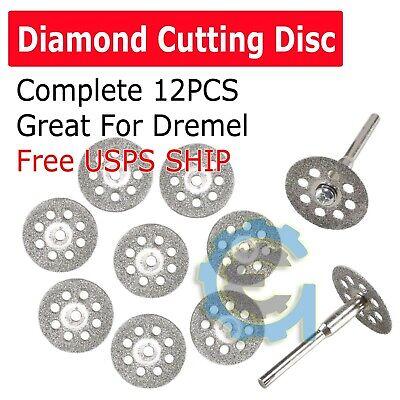 12 PCS Diamond Cutting Wheel Saw Blades Cut Off Discs Set for Dremel Rotary Tool