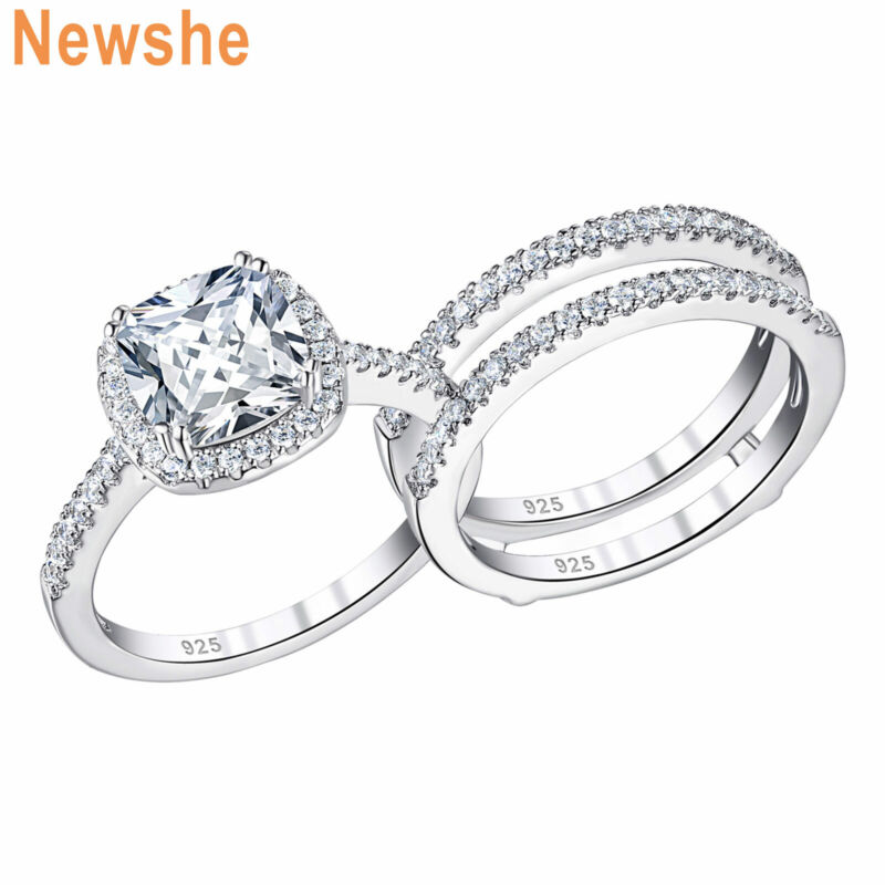 Newshe Engagement Ring Set Wedding Band Guard Sterling Silver Cushion Aaaaa Cz