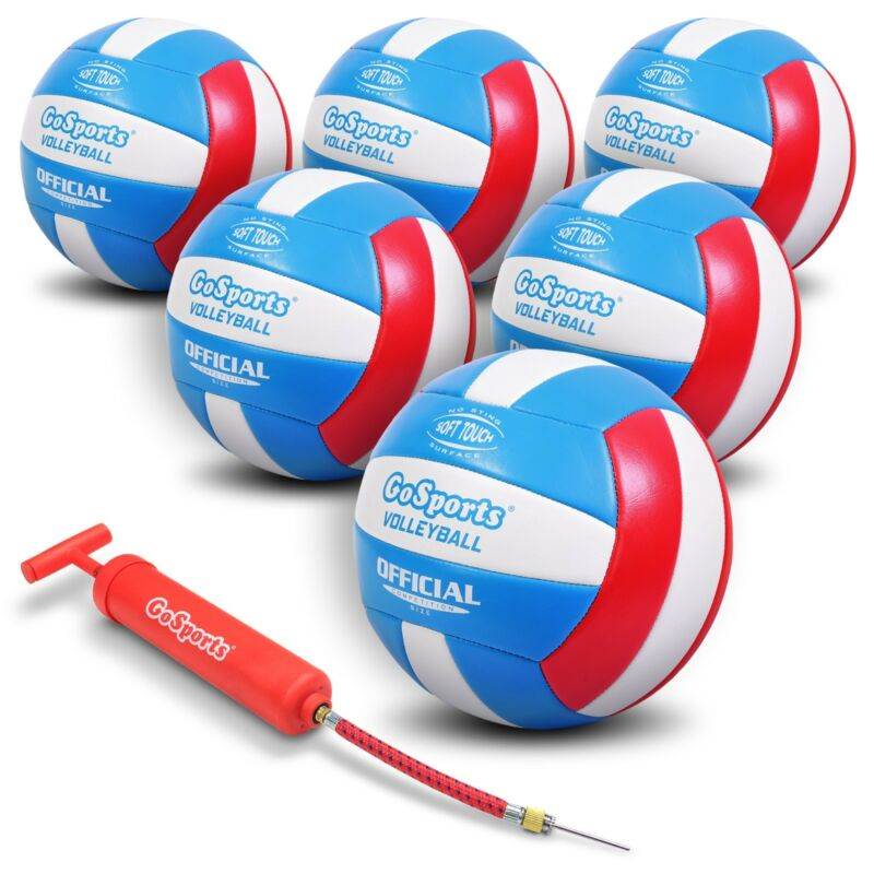 GoSports Soft Touch Recreational Volleyball 6 Pack   Indoor Outdoor Volleyballs