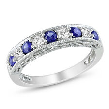 Amour Sterling Silver Created Blue and White Sapphire Ring