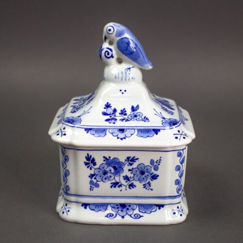 Delft Dutch Blue De Porceleyne Fles Pottery Trinket Tobacco Box Lid Bird Floral