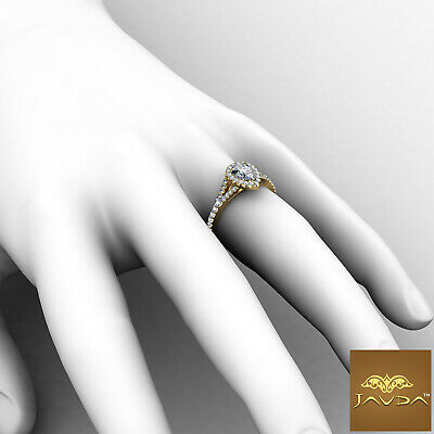 Halo Split Shank Womens Pear Diamond Engagement French U Pave Ring GIA G VS2 1Ct 4