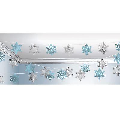 100 Fuß Metallic Blau Silberne Schneeflocke Form Schnur Aufhängen Dekoration ()
