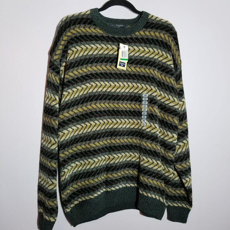 Dockers large men's earth tones chevron zig zag slate acrylic rayon sweater soft