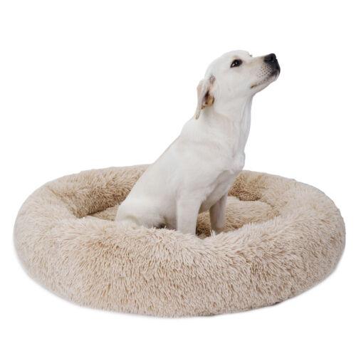 36″x36″ Beige Calming Shag Vegan Fur Donut Cuddler Warming Indoor Round Pillow Beds
