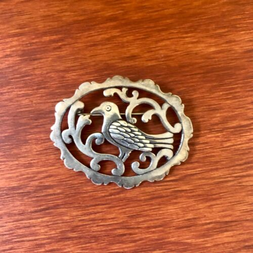 Colonial Williamsburg Silversmith Shops Sterling Bird Brooch Pin or Pendant