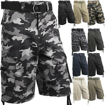 35990a9abb Mens Cargo Shorts with Belt 30 52 Twill Short Camo Pants Summer Multi Pocket