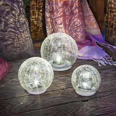 Solar Glaskugel 3er Set Gartenleuchten LED Solarlampe Glasleuchte, esotec 102082