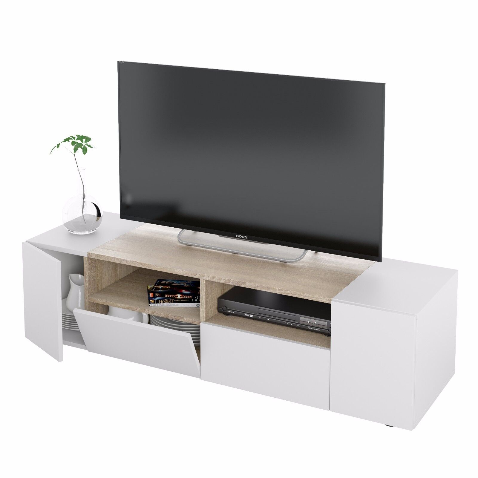 Mueble De Salon Modulo Comedor Acabado Blanco Artik Y Roble