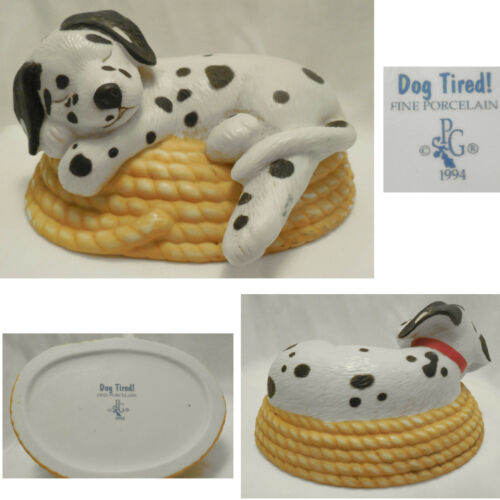 Mint Cond 1994 Princeton Gallery Dalmation Dog Tired on Rope Fireman Figurine