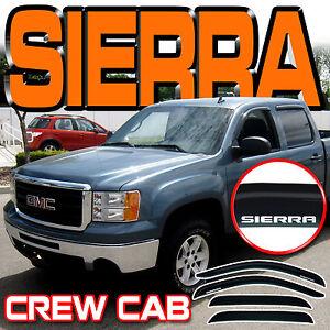 Sierra Crew Cab 07 08 09 10 11 12 13 Window Deflector Visor Vent Shade with Logo