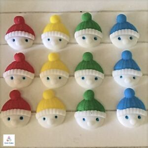 12 Edible Snowmen Heads Christmas Winter Cake Cupcake Decorations Toppers