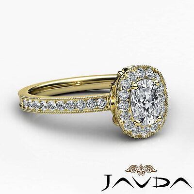 Milgrain Halo Pave Bezel Set Cushion Diamond Engagement Ring GIA G Color VS2 1Ct 9