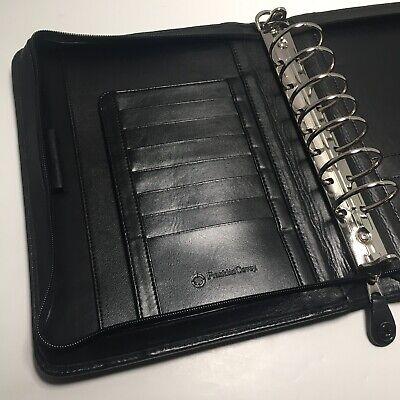 Franklin Covey Black Full Grain Napa Leather Classic Planner Zipper Organizer
