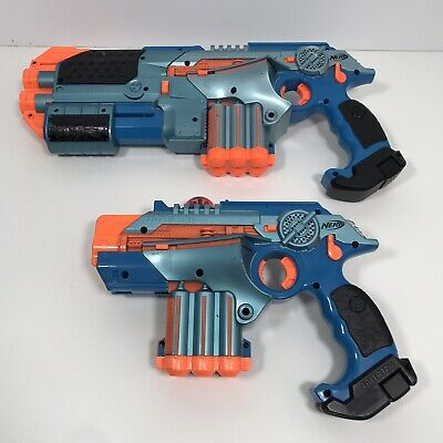 Lot Of 2 Tiger Nerf Lazer Tag Phoenix LTX Tagger Laser Guns Blue W/ 1 Extension
