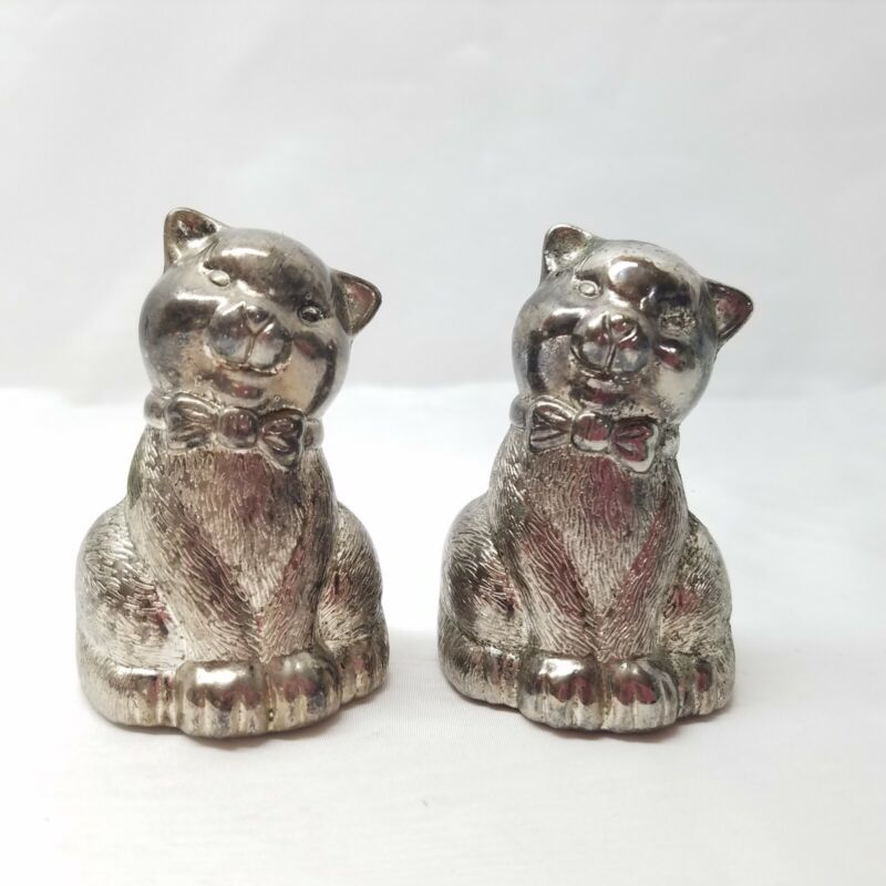Vintage Metal Pewter? Cat Kitten Salt and Pepper Shakers