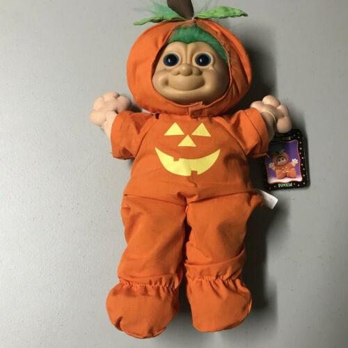 """Vintage Russ Kidz Troll Plush Doll Punkin 13"""" Halloween Pumpkin Costume w/Tags"""