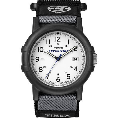 """Timex T49713, Men's """"Expedition Camper"""" Black Wrapstrap Watch, Indiglo, Date"""