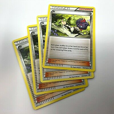 4x N Trainer 105/124 Non-Holo XY Fates Collide Pokemon Card Playset