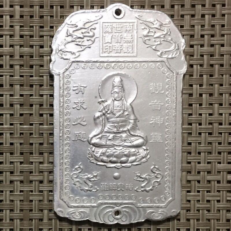 Old Chinese Amulet Pendant,Buddha Quan Yim,Tibetan Silver, Buddhist, China.