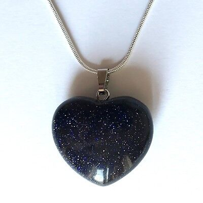 Blue Goldstone Crystal Heart Pendant 25mm with 20