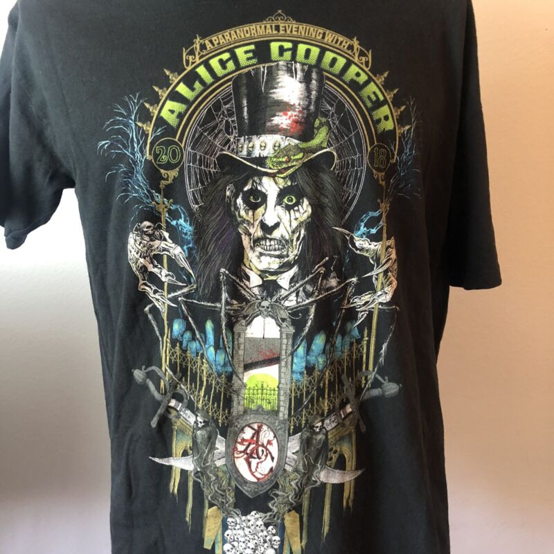 ALICE COOPER 2 SIDED 2018 EVENING WITH TOUR SIZE XL SHIRT ROCK LEGEND