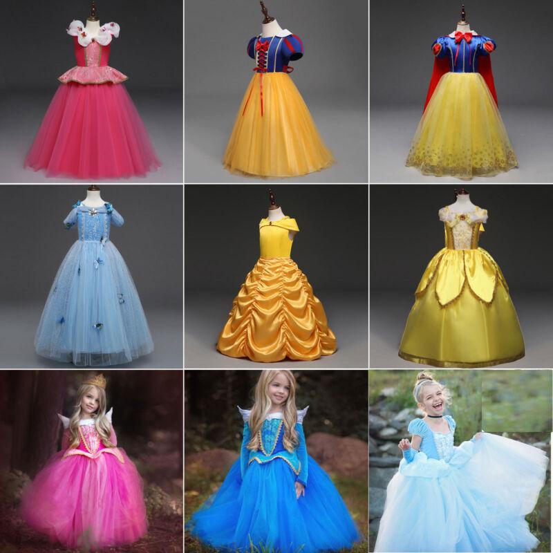 Mädchen Kleid Kinder Prinzessin Belle Party Kostüm Karneval Fasching Cosplay