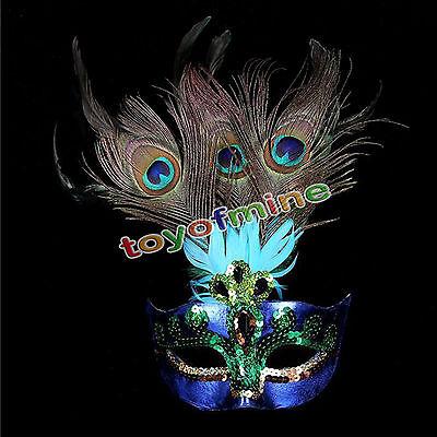Cosplay Peacock Feather Venetian Mardi Gras Masquerade Mask Party Costume Ball (Mardi Gras Peacock Mask)