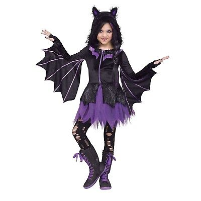 Girls Vampire Bat Halloween Costume Glitter Hooded Dress Black Purple 4-6 S M