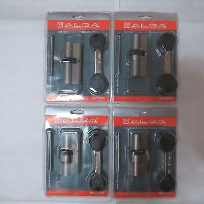 4 ALBA  DOOR LOCK CYLINDER  76MM EURO PROFILE  COG WHEEL  BEST