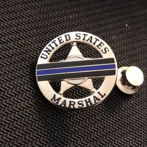 """USMS - US Marshals Service TBL """"mourning band"""" shiny silver lapel Pin"""