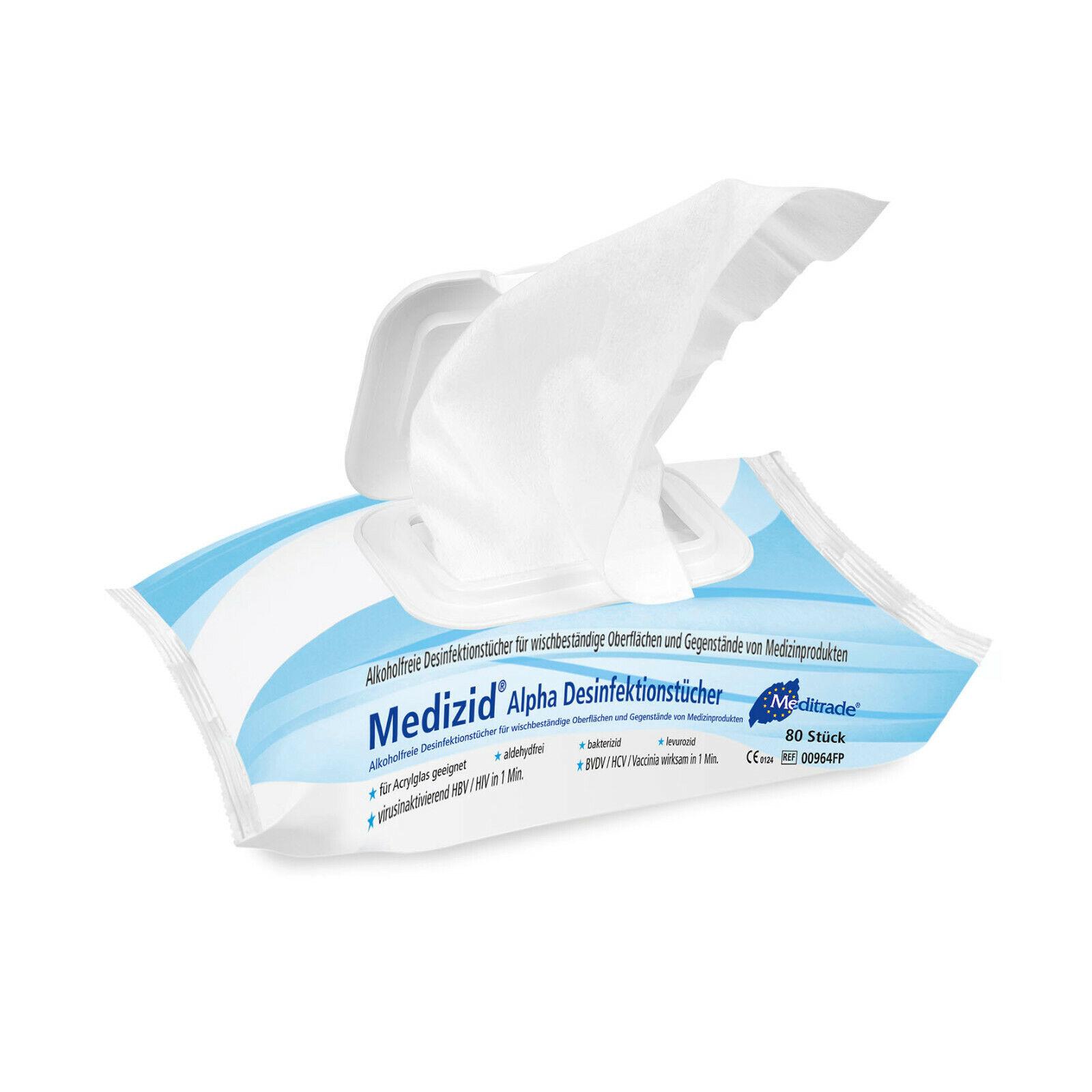 Alkoholfreie Desinfektionstücher Tissues (80 Stück) Medizid® Alpha