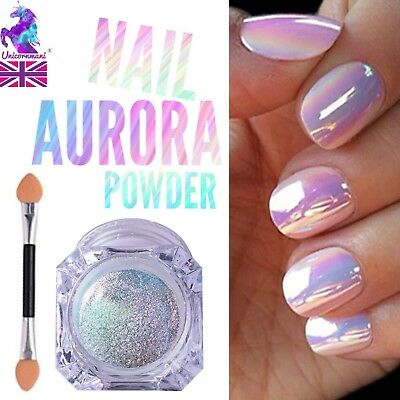AURORA NAIL POWDER Mirror Effect CHROME Nail Art Mermaid Rainbow AB  (Opal6) Uk