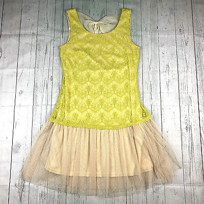 a'reve womens L yellow tan lace tulle chiffon bow sleeveless drop waist dress