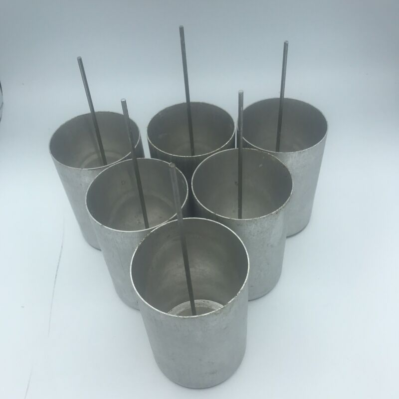 """Seamless Alumnium Candle Mold 3"""" x 4.5"""" with Wick Pin"""