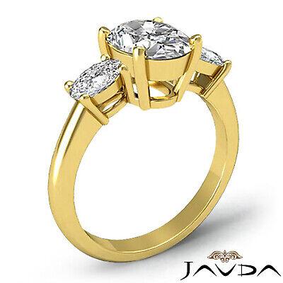3 Stone Prong Setting Oval Cut Diamond Engagement Wedding Ring GIA H VS2 1.5 Ct 4