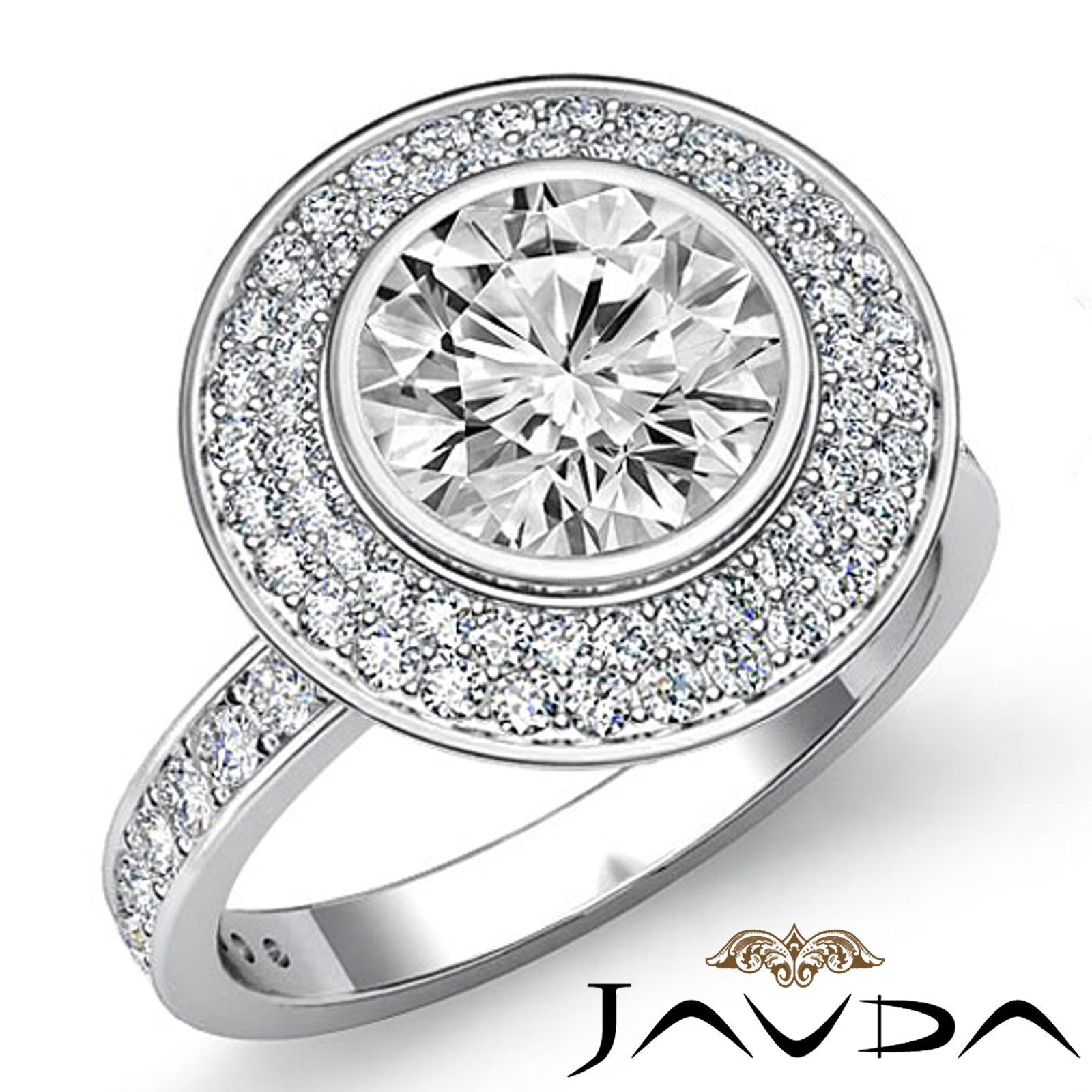 Double Halo Micro Pave Bezel Set Round Diamond Engagement Ring GIA F VS2 2.25 Ct