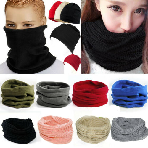 Unisex Mens Face Warmer Wool Knit Neck Circle Cowl Snood Sca
