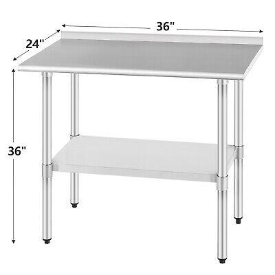 Commercial Prep Work Table Wsplash Kitchen Restaurant Stainless Steel 24x36