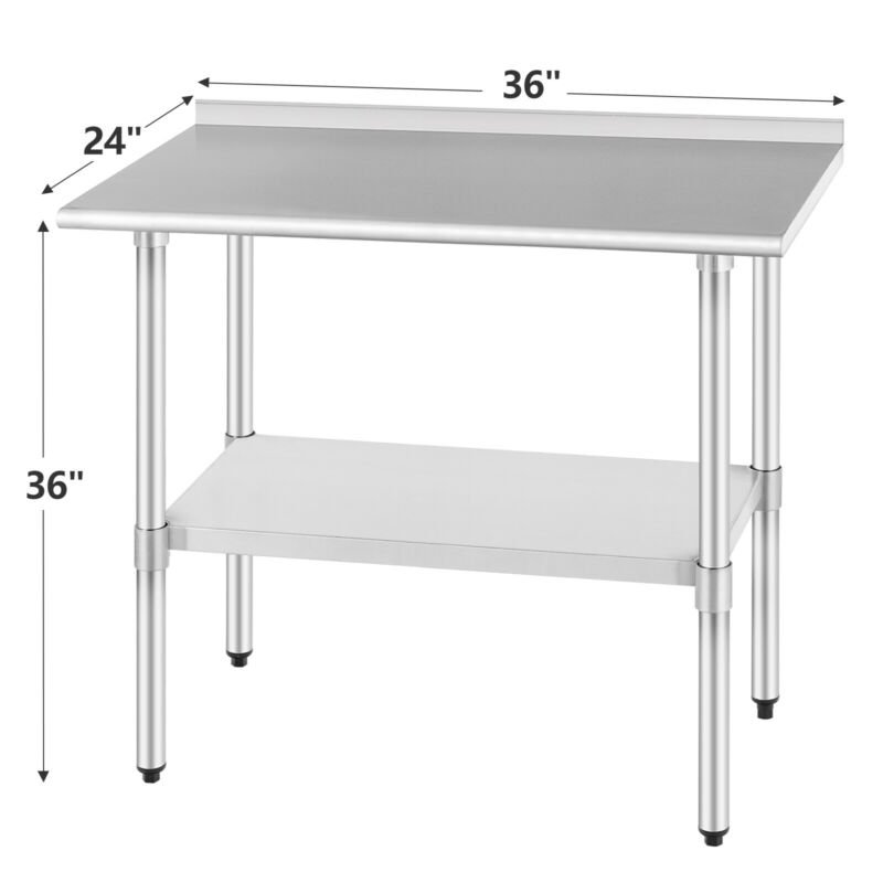 "Commercial Prep Work Table w/Splash Kitchen Restaurant Stainless Steel 24""x36"""