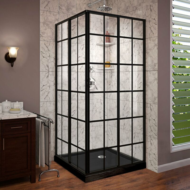 """DreamLine DL-6789-09 French Corner 36x36"""" Sliding Enclosure, Black + Base"""