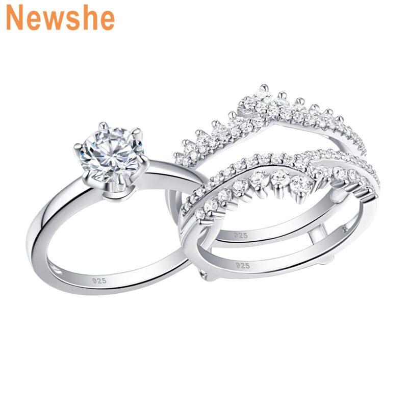 Newshe Wedding Rings Enhancer Engagement Ring Set Sterling Silver Round Aaaa Cz